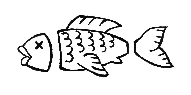 Accapo logo: A fish with no head and no tail